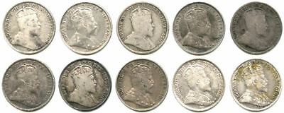 Lot of 10 1902-1910 Canada 5C/Half Dime Silvers