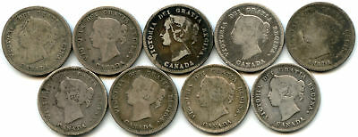 Lot of 9 1870-1888 Canada 5C/Half Dime Silvers