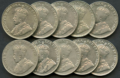 Lot of 10 1922-1931 Canada Nickels
