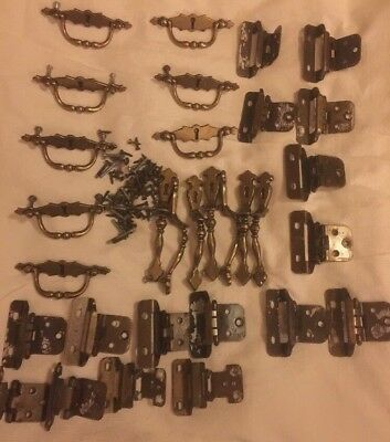 31 Piece Lot Of Brass Hardware.Drawer Pulls, Cabinet Handles,Hinges,Screws/bolts