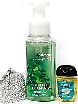 Bath and Body Works Eucalyptus Mint Hand Soap,PocketBac & White Bling Holder