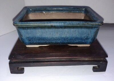 "Japanese Bonsai Pot Pottery VINTAGE Blue Glazed rectangle 4.5""x3.25""x1.5"""