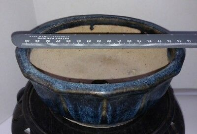 "Japanese Bonsai Pot  Stoneware Pottery VINTAGE  Blue Glazed  Round  6""x2.5"