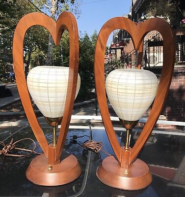 "Pair of Vintage MCM DANISH STYLE TEAK Table Lamps amazing glass globes 21"" Tall"