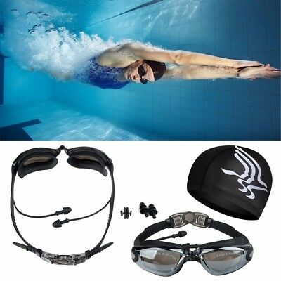 Swim Goggles Swimming Pool Glasses Anti Fog Safety UV Protection Waterproof Set