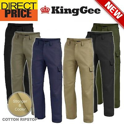 King Gee Work Pants 'Workcool 2' Cotton Ripstop Cargo Pockets Modern K13820 NEW