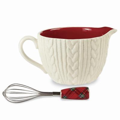 Mud Pie Home Cable Knit Mixing Bowl with Spout and Tartan Handle Whisk Set
