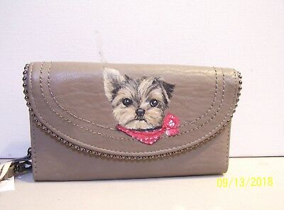 Hand painted Yorkie on Jessica Simpson leather designer wallet wristlet
