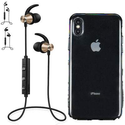 Wireless Headset Earphone + Hard/Soft Cover for Apple iPhone 7 8 X XS XR Max