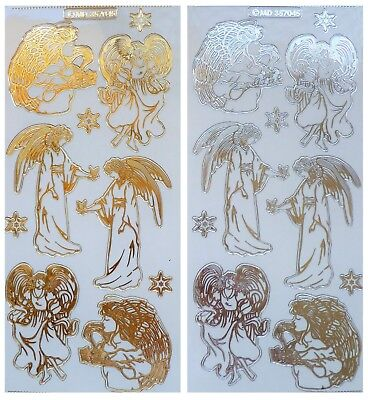 Embossed CHRISTMAS ANGELS Peel Off Stickers Clear Sticker Gold or Silver Outline