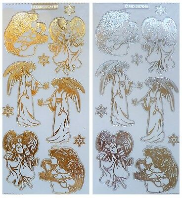 Embossed CHRISTMAS ANGLES Peel Off Stickers Clear Sticker Gold or Silver Outline