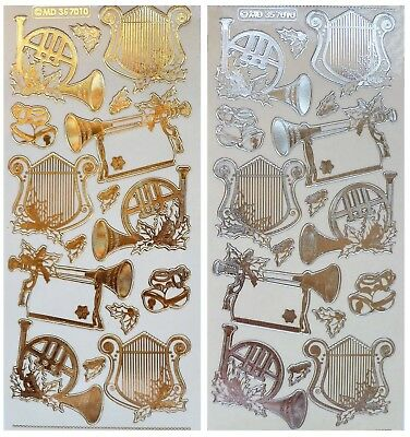 Embossed CHRISTMAS MUSIC INSTRUMENTS Peel Off Stickers Harp Bells Gold or Silver
