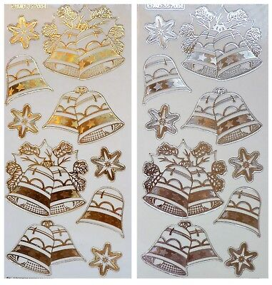 Embossed LAYERED CHRISTMAS BELLS Peel Off Stickers Snowflakes Gold or Silver