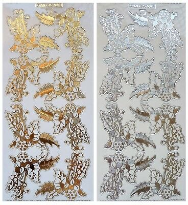 Embossed HOLLY CORNERS Peel Off Stickers Berries Baubles Gold or Silver