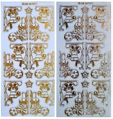 Embossed CHRISTMAS CORNERS Peel Off Stickers Bells Baubles Gold or Silver