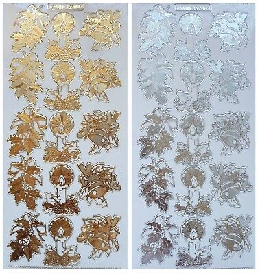 Embossed CHRISTMAS HOLLY CANDLES BELLS Peel Off Stickers Berries Gold or Silver