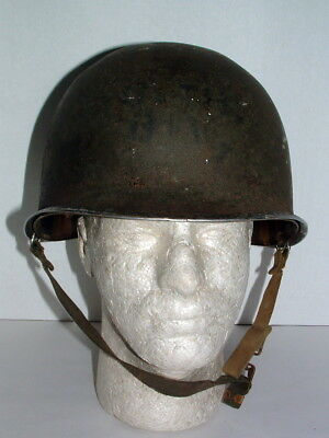 1940s WWII US ARMY FIXED BALE HELMET w PAINTED UNIT MARKINGS & FIRESTONE LINER