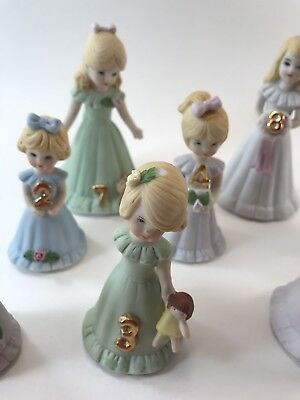 Vintage Growing Up Birthday Girl Figurine Lot Ages 1,2,3,4,5,6,7 & 8 BLONDE