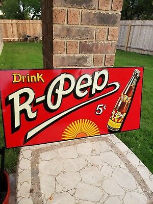 VINTAGE COLORFUL R - PEP Soda Advertising Sign with Bottle