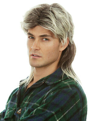 Two Tone Mens Redneck 80s Mullet Costume Wig - by Allaura
