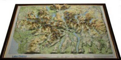 Lake District Raised Relief Map Dark Wood  Framed 9781906473006