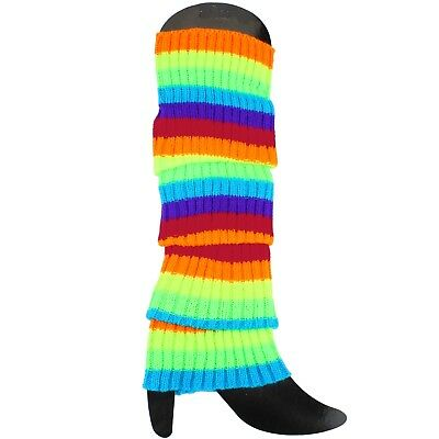 80'S Eighties Party Rainbow Neon Stripe Knitted Leg Warmers Costume Accessory