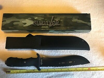 "12"" SURVIVOR TACTICAL COMBAT BOWIE HUNTING KNIFE Military Fixed Blade w/Sheath"