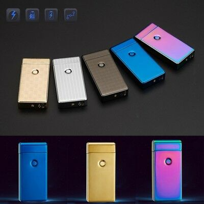 USB Electric Double Arch Pulse Plasma Lighter Flameless Metal Cigarette Gift