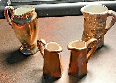 Vintage Lot Of (4) Mini Dollhouse Gold Pitchers (1) Toby, (1) Large, (2) Smaller