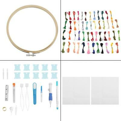 DIY Circle Embroidery Cross Stitch Ring Hoop Frame Sewing Tools set with Threads