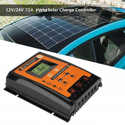 12/24V 70A MPPT Solar Charge Controller Solar Panel Battery Regulator Dual USB