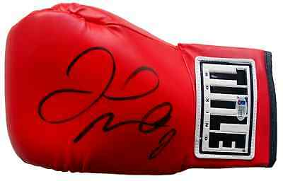 Floyd Mayweather Jr Signed Red TITLE Left Hand Boxing Glove Beckett BAS