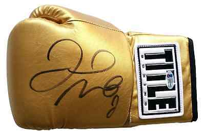 Floyd Mayweather Jr Signed Gold TITLE Left Hand Boxing Glove Beckett BAS