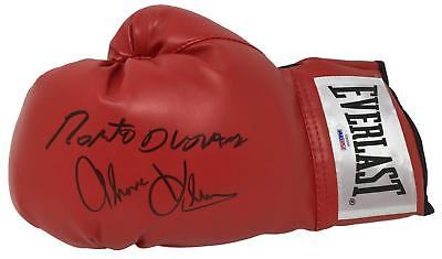 Roberto Duran Tommy Hearns Dual Signed Red Everlast Boxing Glove PSA