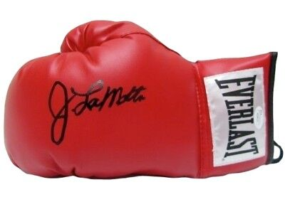 Jake LaMotta Signed Red Everlast Boxing Glove JSA