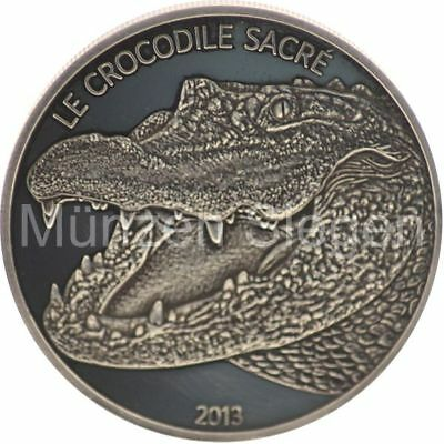 "1 oz Silber ""Crocodile Sacre"" Burkina Faso in Dark Finish 2013 in Kapsel mit CoA"