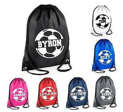 Personalised Name SPLIT Football Drawstring Bag School Club PE Custom Name Sport