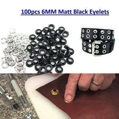 6mm Black Matt Eyelets Grommet with Washers for Bags Belts Leather Craft Banners