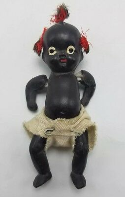 Antique Japanese Black Americana Miniature Porcelain Doll With Moveable Limbs