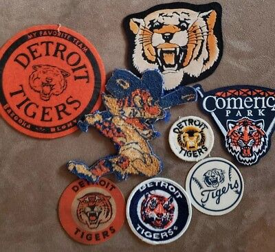 (8) Vintage Detroit Tigers Patches. All Are In The Pictures  Look Very Nice Lot