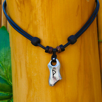 Leather Necklace Wunjo Rune Viking Jewellery Viking Chain Necklace Odin Thor