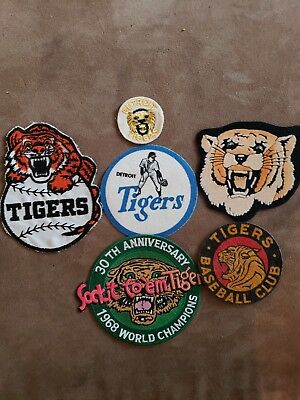 (6) Vintage Detroit Tigers Patches. All Are In The Pictures  Look Very Nice Lot