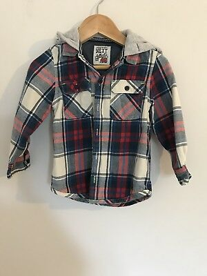 Boys Next Shacket Shirt Jacket With Hood Blue White Red Checked 18-24m 1.15-2yrs