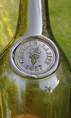 A Lovely Rare Sealed 1857 CHATEAU LAFITE Black Glass Bottle (bunch of grapes).