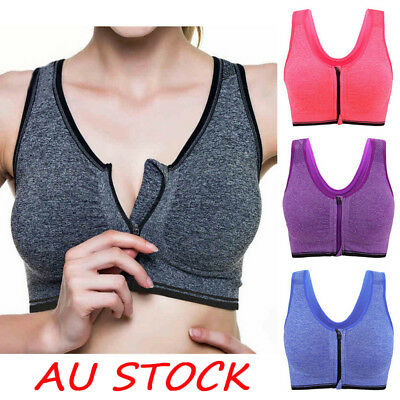 Women Padded Sports Bra Front Zip Yoga Gym Ladies Workout Running Vest AU