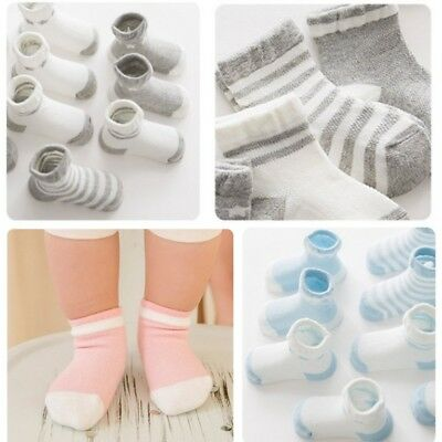 5 Pairs Newborn Baby Boy Girl Infant Toddler Cute Anti-Slip Cotton Floor Sock