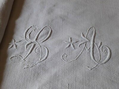 Drap 03 ancien drap en lin monogramme LA 185x279 OLD LINEN SHEET EMBROIDERED