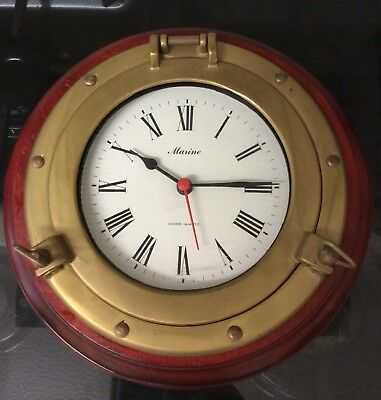 A Marine Swiss Quartz Porthole Wooden And Brass Wall Clock Battery Operated