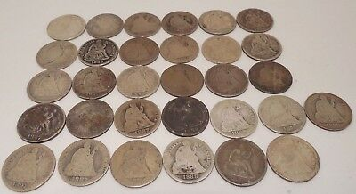 Lot of 31 - Seated Liberty Dimes - 10¢ - Mixed Dates - #7H