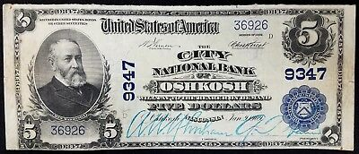 Series of 1902 $5.00 Nat'l Currency, City National Bank of Oshkosh, Wisconsin!